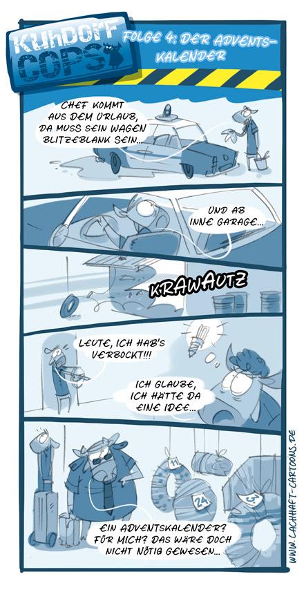 LACHHAFT Cartoon Weihnachten Weihnachtscartoon Kuhdorf Cops Folge 4 Adventskalender Auto waschen Polizei Missgeschick Idee Chef Urlaub Krüger Cartoons Witze witzig witzige lustige Bildwitze Bilderwitze Comic Zeichnungen lustig Karikatur Karikaturen Illustrationen Michael Mantel Spaß Humor