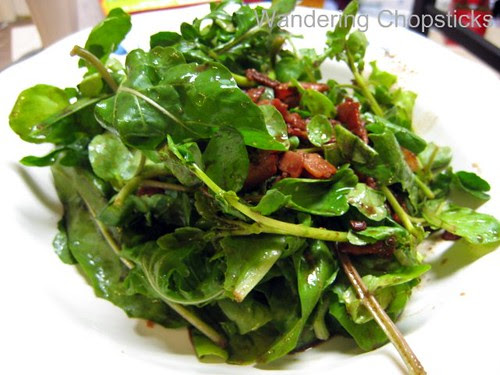 Wilted Arugula  and Lettuce Salad with Warm Bacon Dressing 7