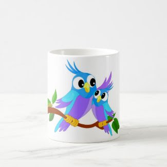 Mother and Baby Cartoon Parrots Coffee Mug