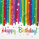 16 CT Rainbow Ribbon Birthday Beverage Napkins