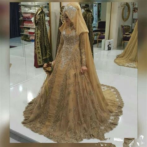 Luxury Gold Lace Long Sleeve Wedding Dresses Arabic Muslim
