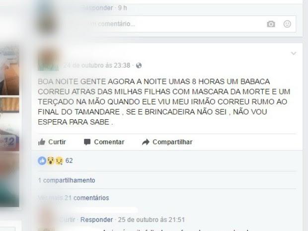 Pai relata que filhas dele foram seguidas por mascarados (Foto: Reprodução/Facebook)