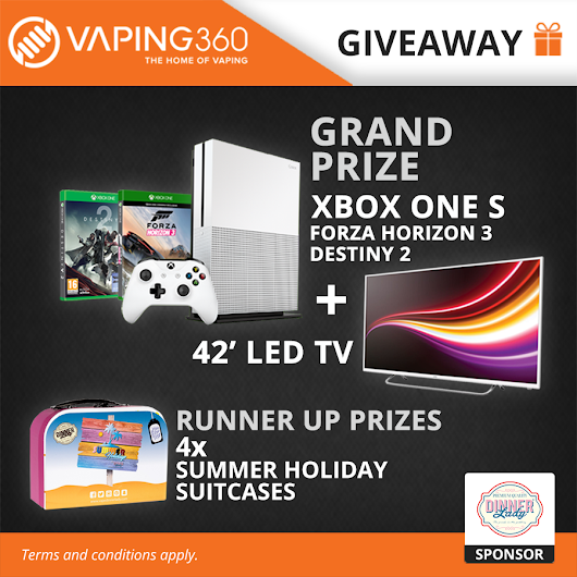 42' LED TV, XBOX One S, 2 x XBOX One Game, 4 x Dinner Lady Summer Holiday Suitcase Giveaway