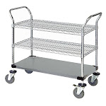 Utility Cart Stainless Steel 2 Wire & 1 Solid Shelf - 18 x 48 x 37.5 in. SP1137752