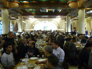One of several large rooms and a tasty meal on the way back from our excursion to the border with Palestine.
