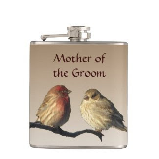 Mother of the Groom Finches Wedding Flask