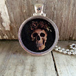 Skull with Roses Resin Pendant Necklace