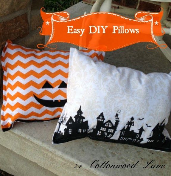 24 Cottonwood Lane: DIY No-Sew Halloween Cushions.....Crazy Easy!