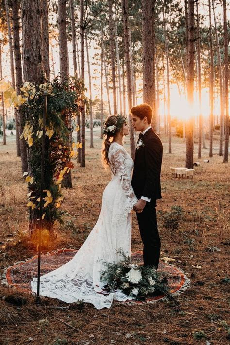 Woodsy Forest Foliage Wedding Altar   Ceremony   PNW