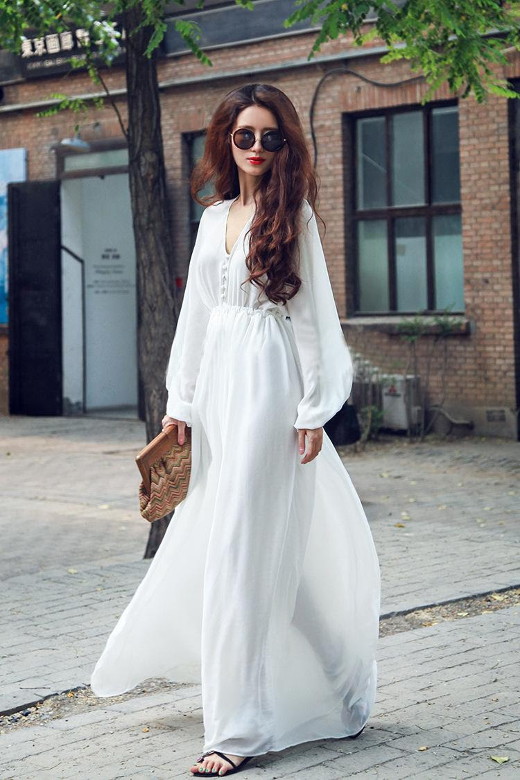 hippie gypsy bohemian bell sleeve women long lace dress