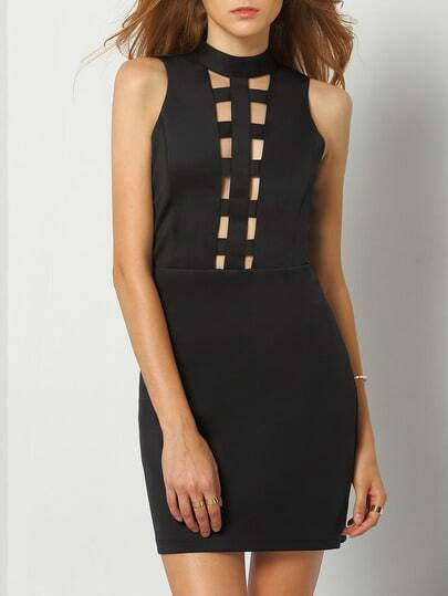 Black Sleeveless Cut Out Bodycon Dress pictures