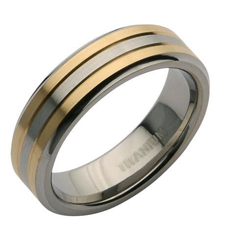 6mm Titanium Two Tone Wedding Ring Band   Titanium Rings