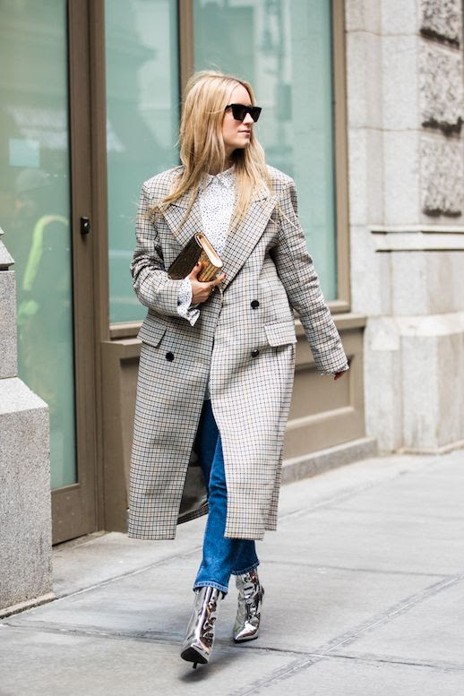 Le Fashion Blog Fashion Week Street Style Black Sunglasses Plaid Coat Speckled Button Up Shirt Straight Leg Jeans Silver Boots Via Sandra Semburg
