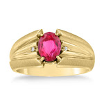1.5 Carat Oval Created Ruby & Diamond Men's Ring Crafted in Solid 14K Yellow Gold, Size 9 by SuperJeweler