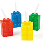 Block Party Plastic Cups With Lid & Straw (8 Pack - Assorted)