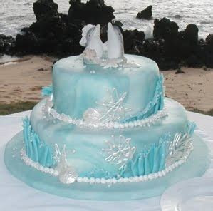 Wedding Cakes Pictures: Blue Wedding Cakes with Sea Shell