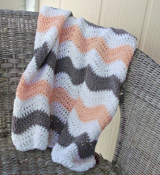 Crochet Chevron Baby Blanket Coral Gray Peach Baby Bedding