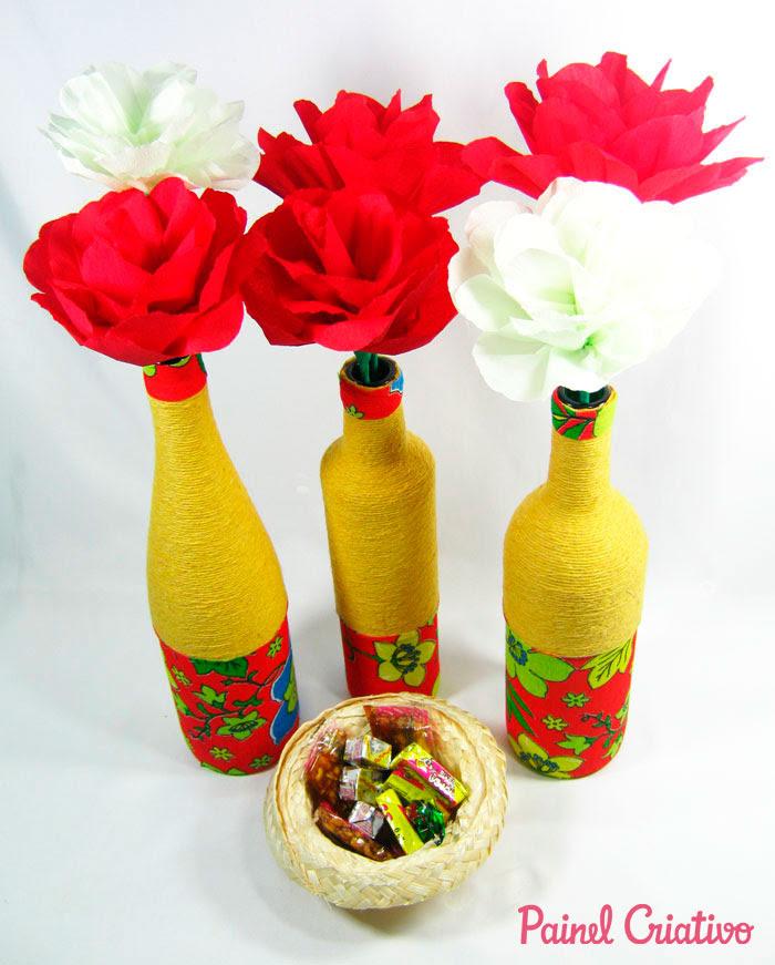 passo a passo centro de mesa festa junina garrafa de vidro decorada  barbante recicalgem (5)