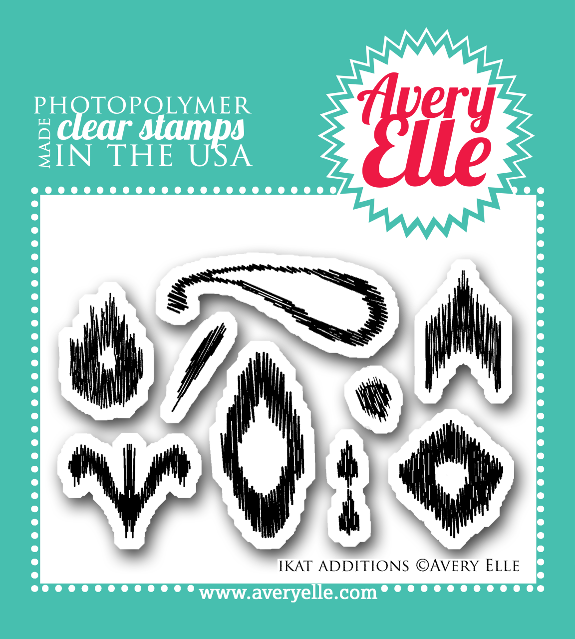 """Our 2"""" x 3"""" Ikat Additions clear photopolymer stamp set may be mini in size, but it packs a lot of punch.  This set allows stampers to create even more Ikat patterns when used alone or with the coordinating Ikat clear photopolymer stamp set."""