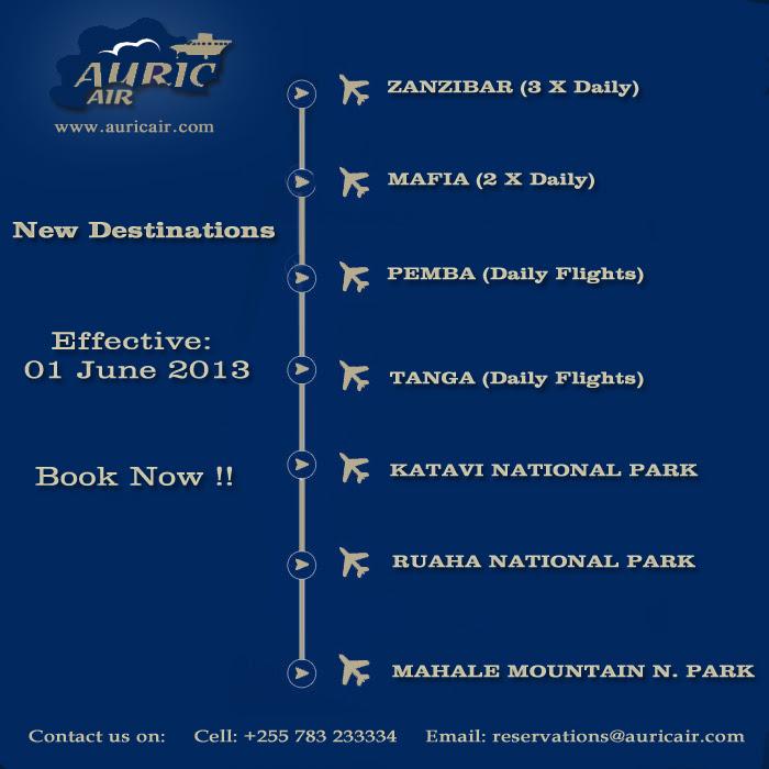 Auric Air new June 2013 flights