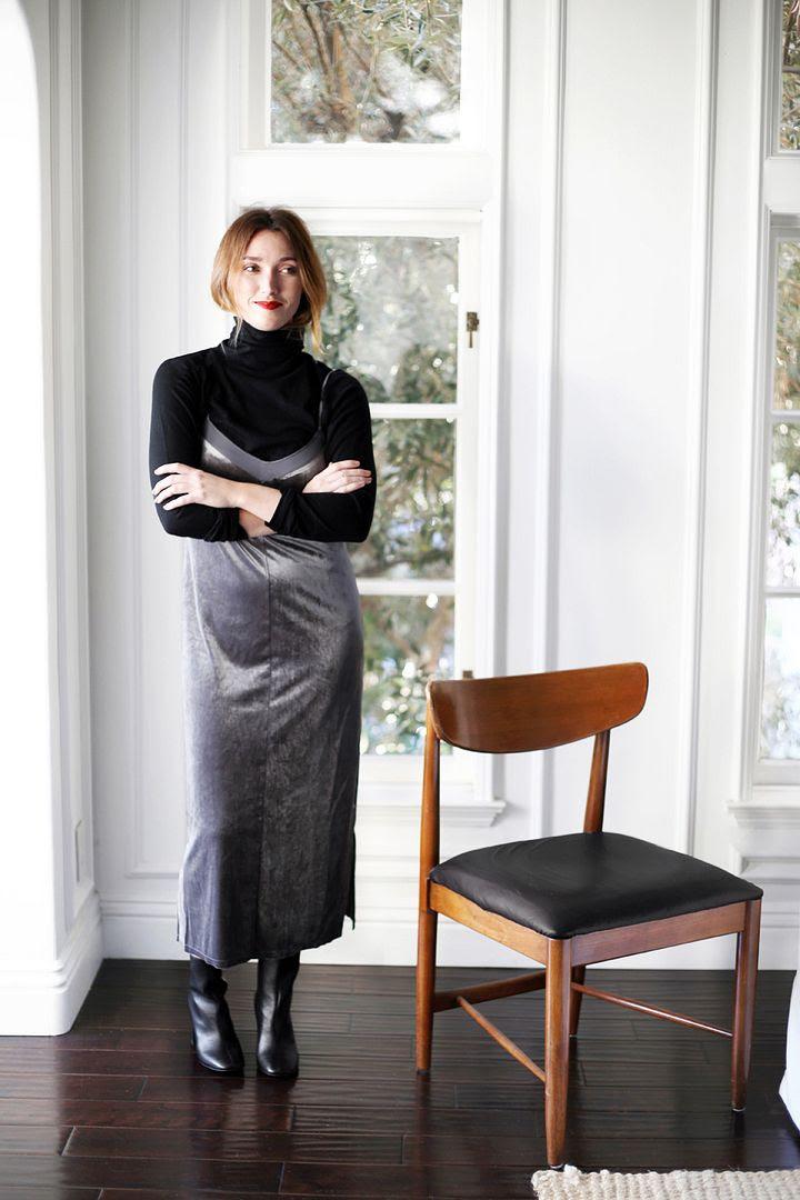New Years Eve Outfit Ideas 90s Layered Turtleneck Velvet Slip Dress Ankle Boots Kohls Photographer Erin Pederson Model Katie Wohlers Styling Jenn Camp Le Fashion Blog