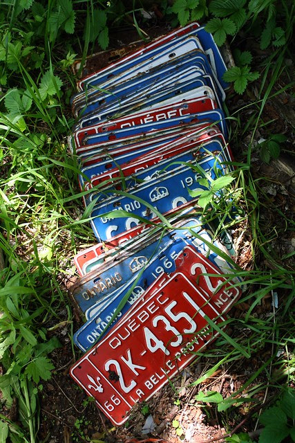 there were hundreds of license plates scattered about the property, all between 1966-68.