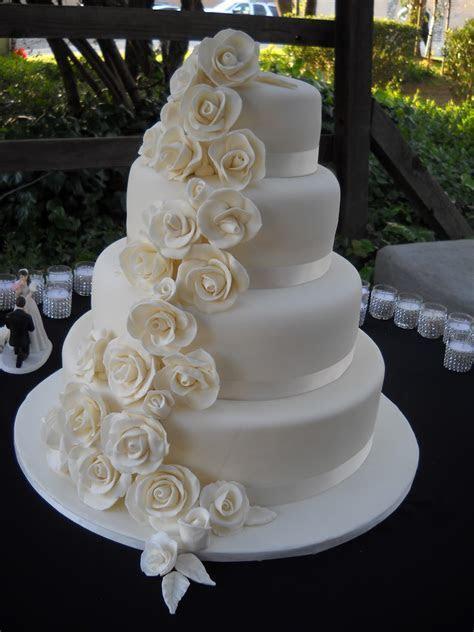 Ashley's Fondant Rose Wedding Cake   Cakes By Carin