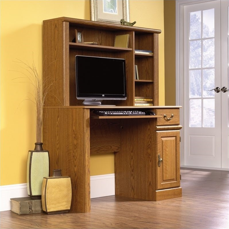 Sauder Orchard Hills Small Wood Computer Desk with Hutch in Oak ...