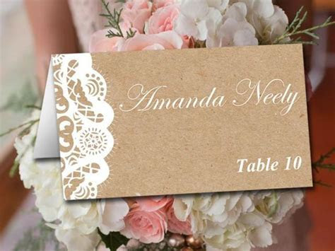 Fold Over Wedding Place Card Template   Kraft Escort Card