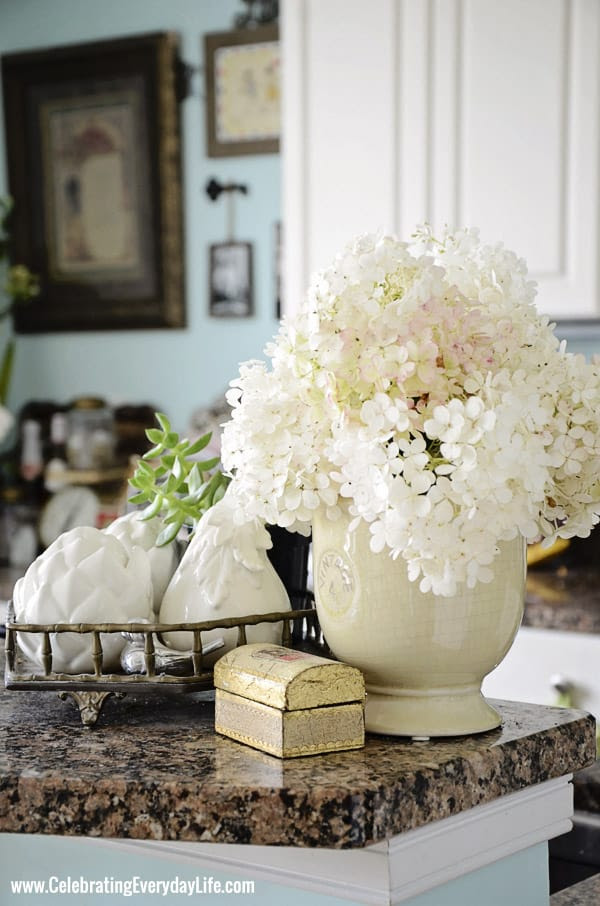 Hydrangeas in my Turquoise and White Kitchen from Celebrating Everyday Life with Jennifer Carroll