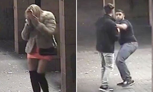 Woman seen staggering after racist thugs break her nose