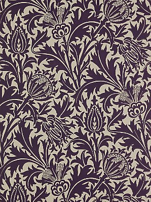 Buy Sanderson William Morris Thistle Wallpaper, DMOWTH101, Mulberry \/ Linen online at JohnLewis