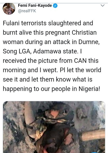A christian pregnant woman burnt to death by Fulani's Herdsmen. SEE PHOTOS