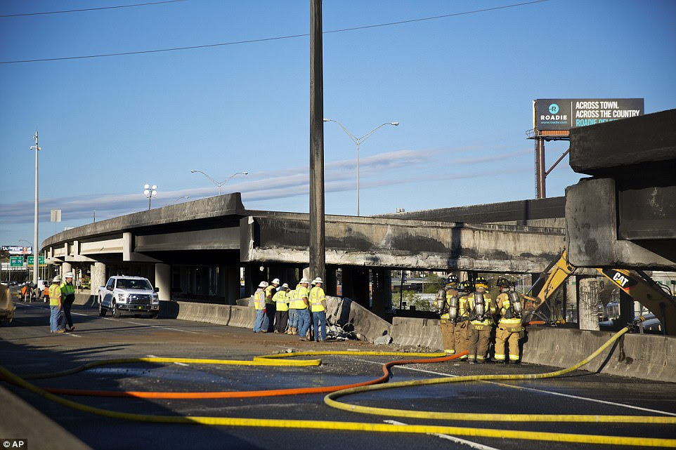 Florence said the suspects used 'available materials' at the site. All three may have been homeless, Florence added, although it is not clear whether they had lived at the site beneath the highway (pictured)