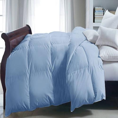 Microfiber Down Alternative Full/Queen Comforter in Light Blue