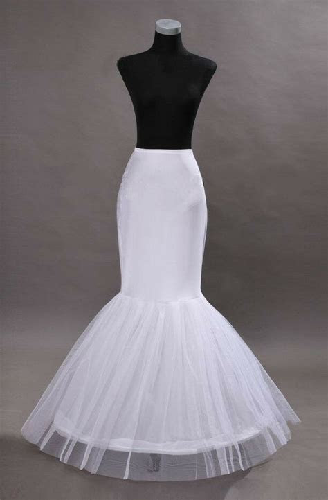 Mermaid White 1 Hoop Wedding Dress Trumpet Gown Crinoline