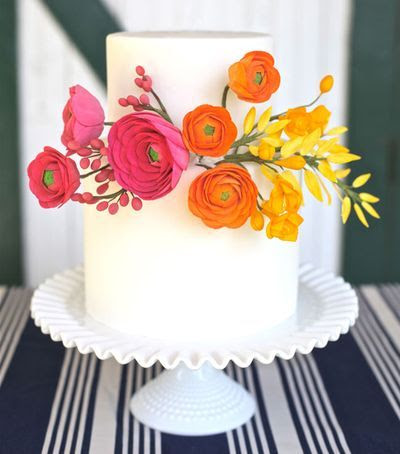 wedding cake - simple with fresh flowers