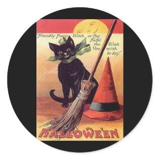 Vintage Black Halloween Cat sticker