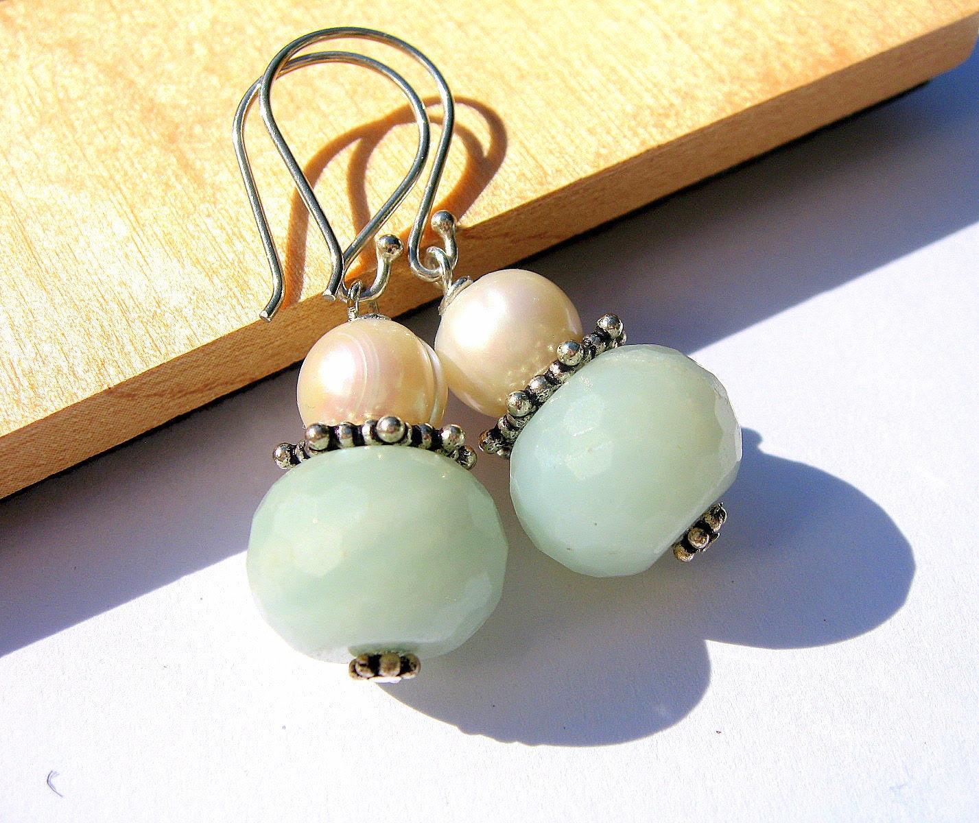 Aqua Pearl Earrings, Amazonite Gemstone Jewelry, Light Blue Green and White