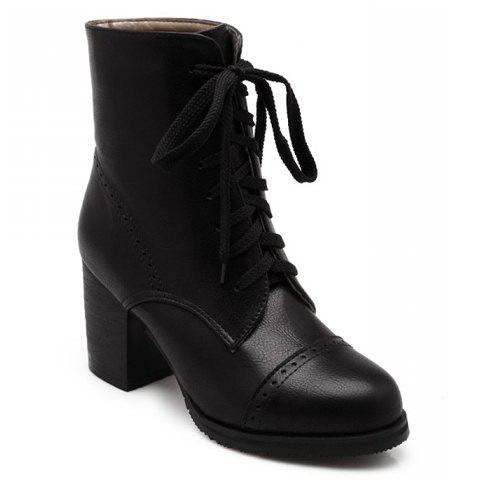 Concise Chunky Heel and Lace-Up Design Boots For Women