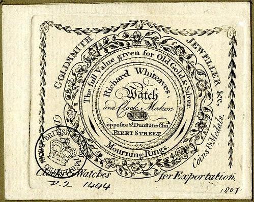 Un-cut watch-paper--trade-card of Richard Whiteaves, clock + watch maker.