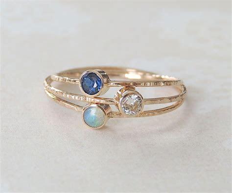 Sapphire Ring, Opal Ring, Moissanite Ring, Gold Ring Set