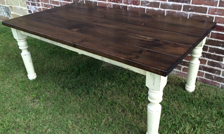 Turned Leg Farmhouse Table  Rustic   Modern Handcrafted Furniture