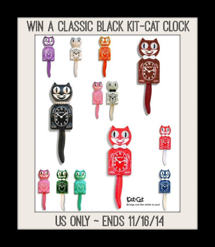 Enter the Kit Cat Clock Giveaway. Ends 11/16.