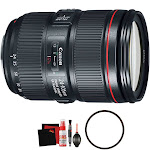 Canon EF 24-105mm f/4L IS II USM Lens + UV Filter + Microfiber Cleaning Cloth Bundle (Bulk Packaging)