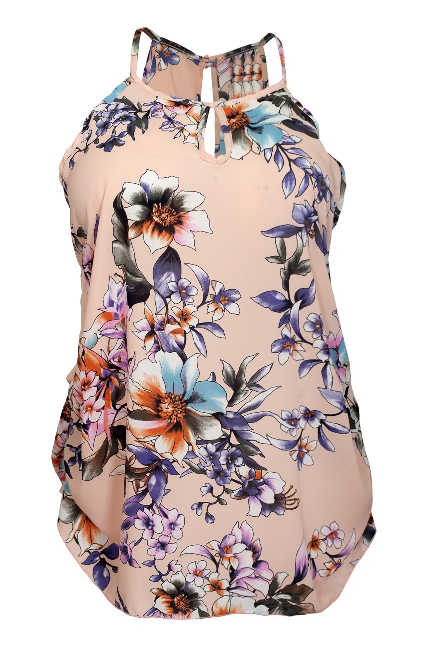 Plus Size Sleeveless Sheer Chiffon Keyhole Top Pink Floral Print 1761