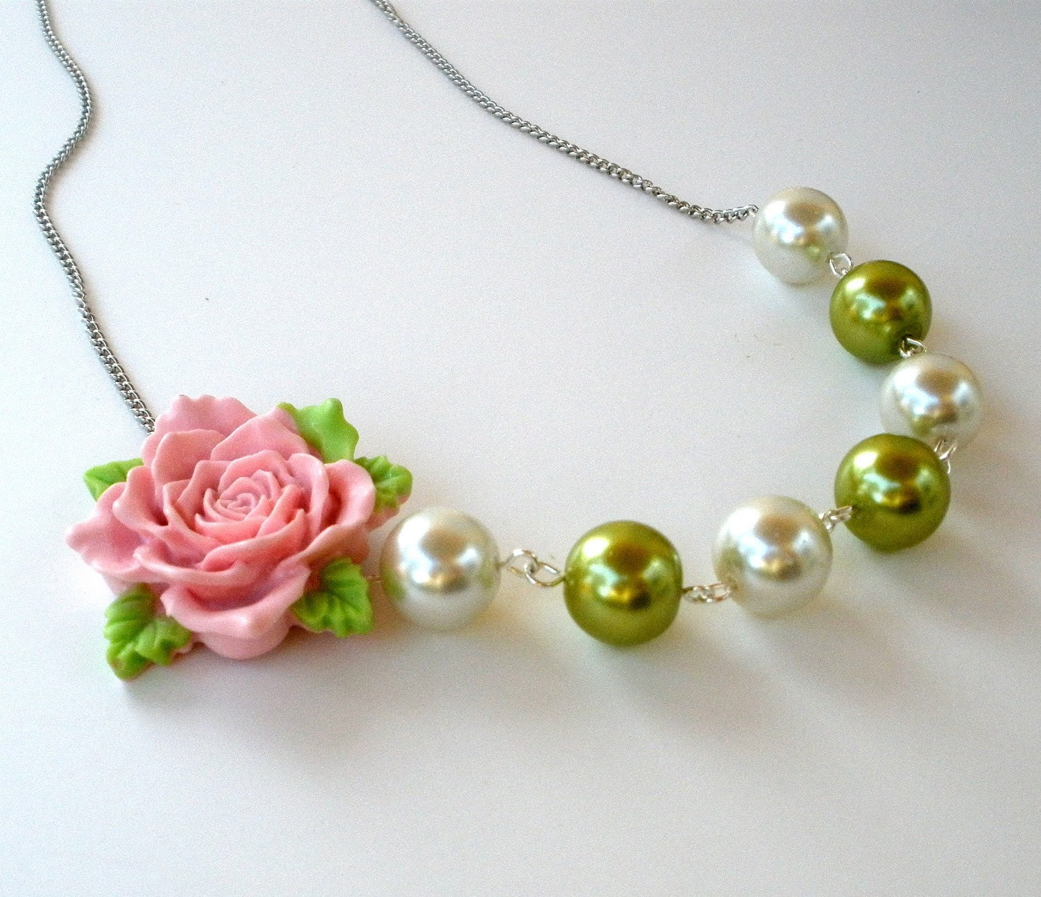 Pink Rose and Chartreuse Green Pearl Necklace - Romantic, Bridal, Bridesmaids Jewelry