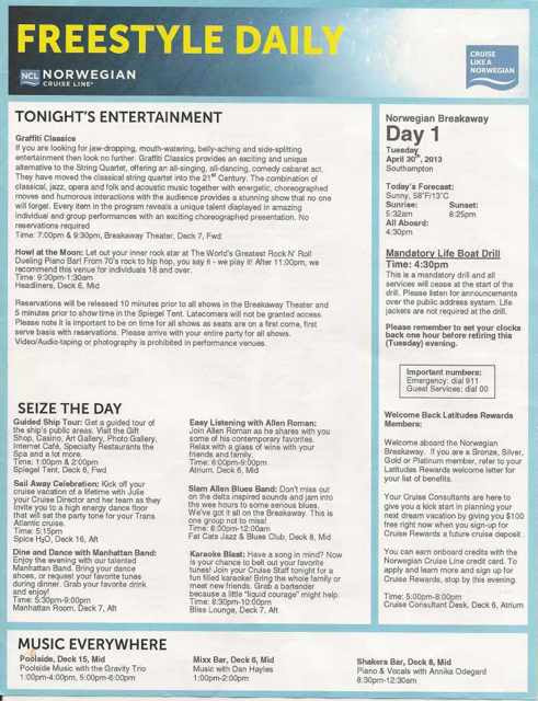 Breakaway Freestyle Daily - Cruise Critic Message Board Forums