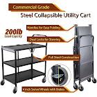 InStyleDesign -3 Tier Heavy Duty Metal Foldable Utility Cart, Black