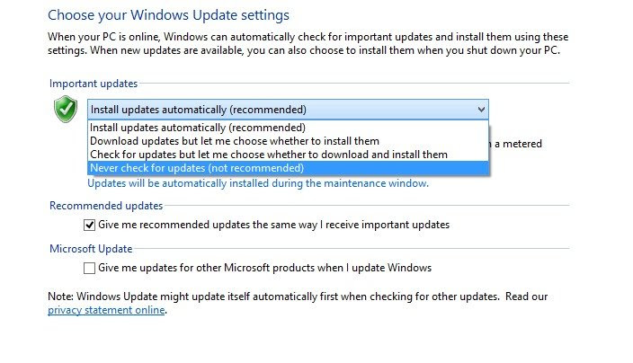 Configure or Disable Automatic Updates on Window4